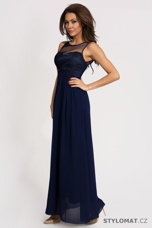 Dámské dlouhé modré plesové šaty - Eva Lola - Dlouhé společenské šaty 6beb41df7b