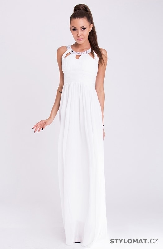 Dlouhé elegantní bílé šaty - Eva Lola - Dlouhé společenské šaty 6ab5cec475
