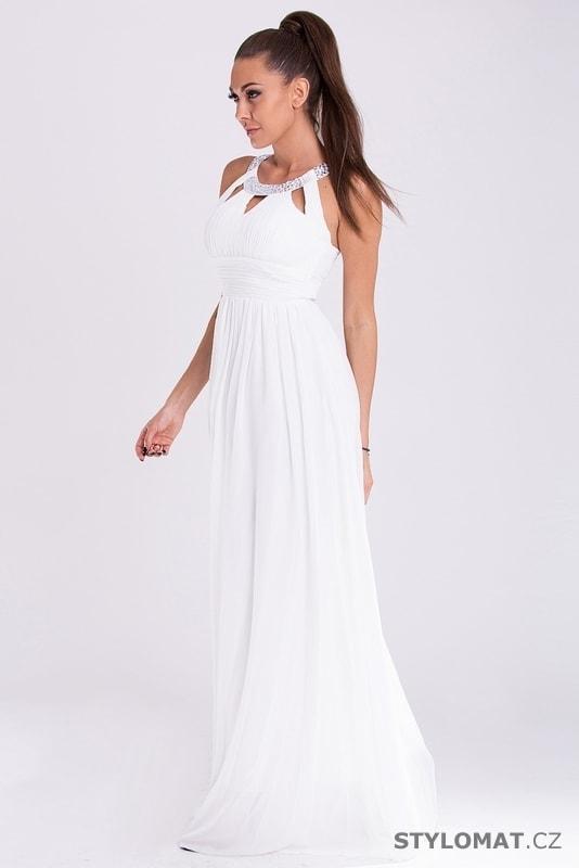3595d7c7b34 Dlouhé elegantní bílé šaty - Eva Lola - Dlouhé společenské šaty