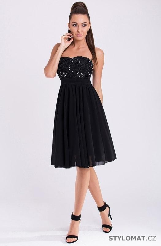 248db1d223d Elegantní plesové midi šaty černé - Eva Lola - Krátké společenské šaty