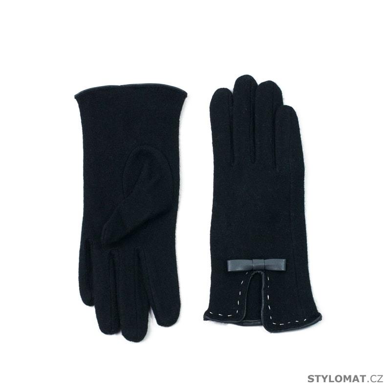 Elegantní černé vlněné rukavice s mašlí - Art of Polo - Dámské rukavice 4f56c9b957