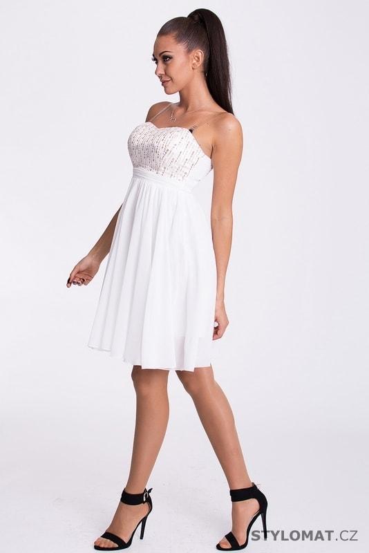 459275c461c Úzké bílé šaty s krajkou - Eva Lola - Krátké společenské šaty
