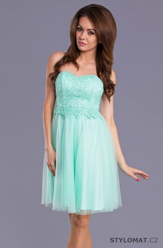 Dámské hezké mint šaty - Pink BOOm - Krátké společenské šaty 00c6bf1484
