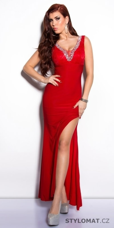 9ec535571c7 Červené elegantní šaty na ples - Koucla - Dlouhé společenské šaty