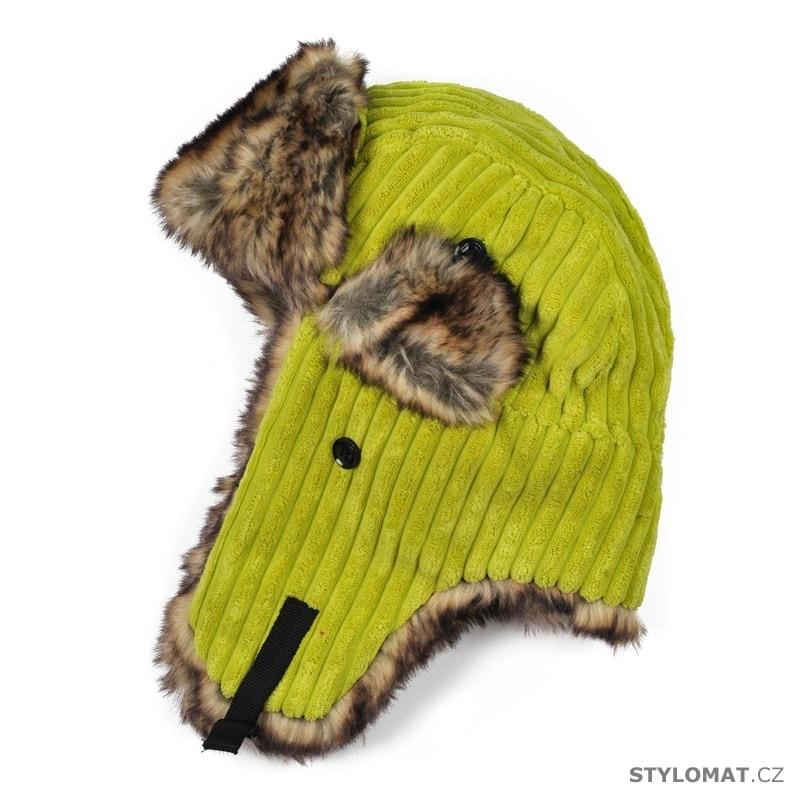 Manžestrová ušanka žlutá - Art of Polo - Zimní dámské ušanky 5942244211