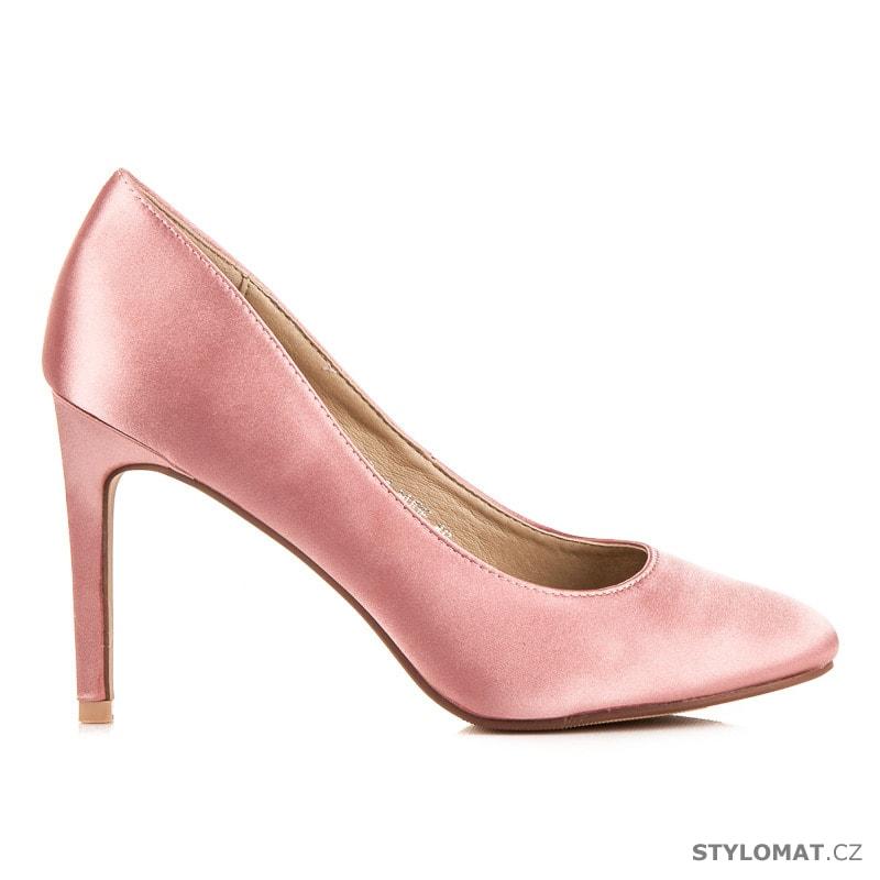 Saténové lodičky růžové - COMER - Lodičky b074d7947c