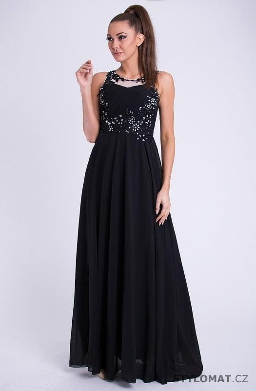Černé módní šaty nádherně zdobené - YNS - Dlouhé společenské šaty 7f20a16537