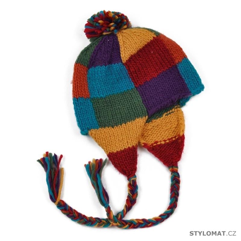 e3d419108eb Čepice pletená ušanka s barevnou šachovnicí - Art of Polo - Zimní ...
