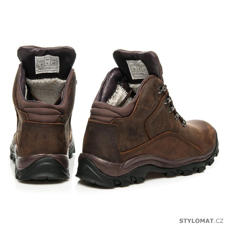 Kožené trekové boty hnědé - New age - Pánské kotníkové a farmářky 1fde3a493e