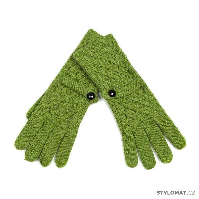 92200732e9e Módní rukavice s proplétaným vzorem zelené - Art of Polo - Dámské ...