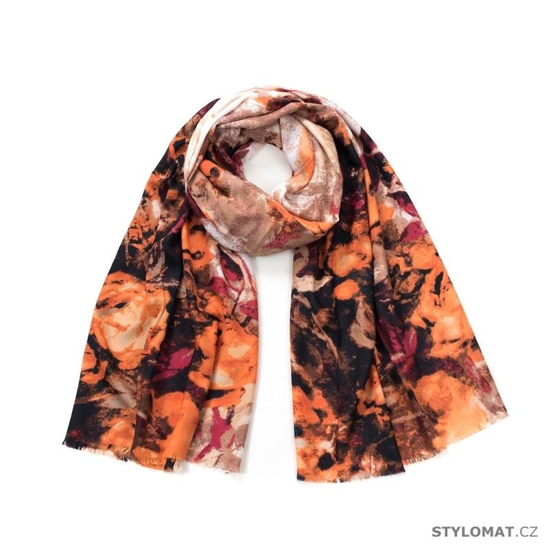 83c3ff53cba Šál růžová imprese s oranžovou - Art of Polo - Dámské šály a šátky