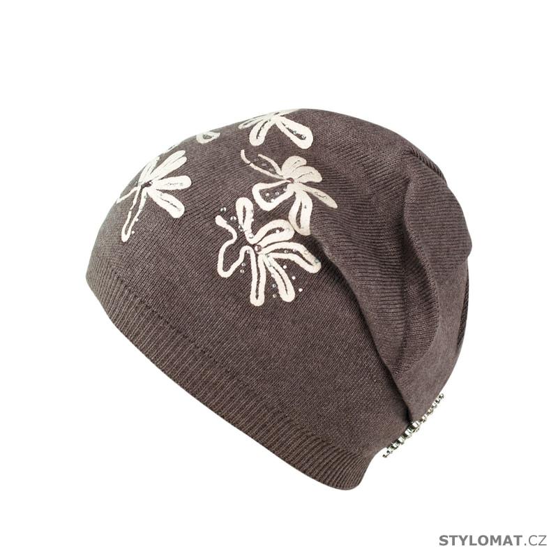 Pletená čepice s květovaným vzorem hnědá - Art of Polo - Tenké ... b509cc8a2e