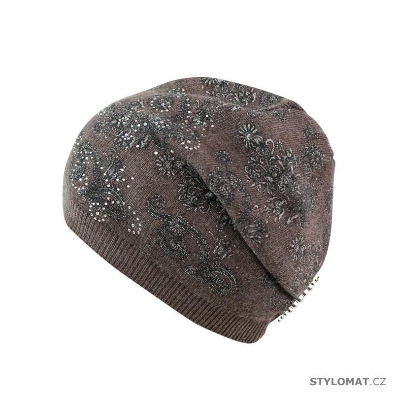 Pletená čepice s vzorem hnědá - Art of Polo - Tenké (podzimní jarní) 4fa0627fc2