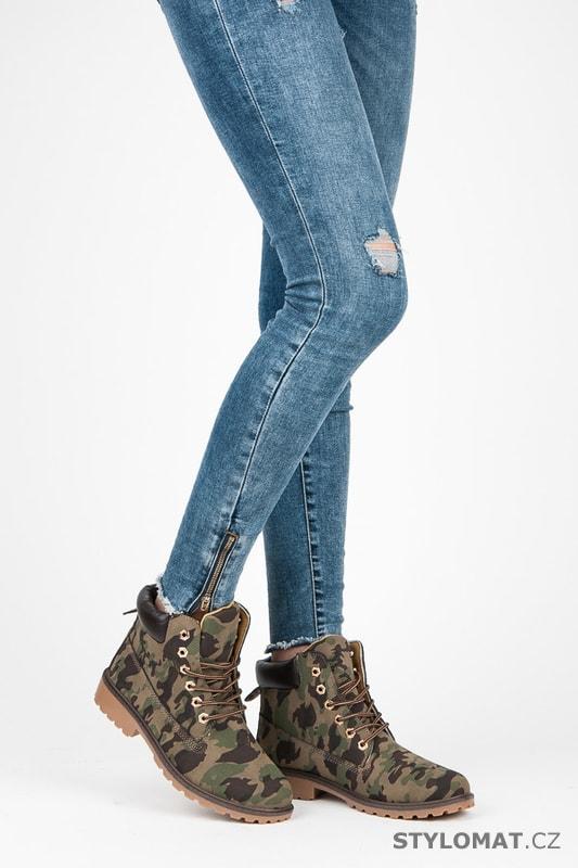 Dámské maskáčové kotníkové boty trapery - SEASTAR - Workery 90d073edd57
