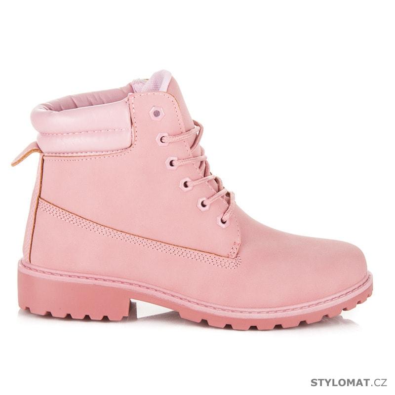 Dámské světle růžové kotníkové boty trapery - SEASTAR - Workery ... 7b237c5046