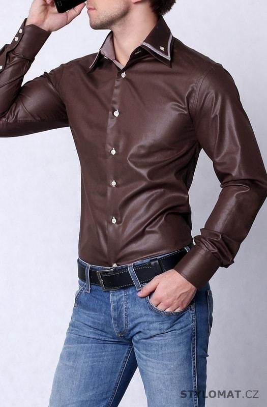 Hnědá pánská košile slim fit - highness - Košile 46bebb7504