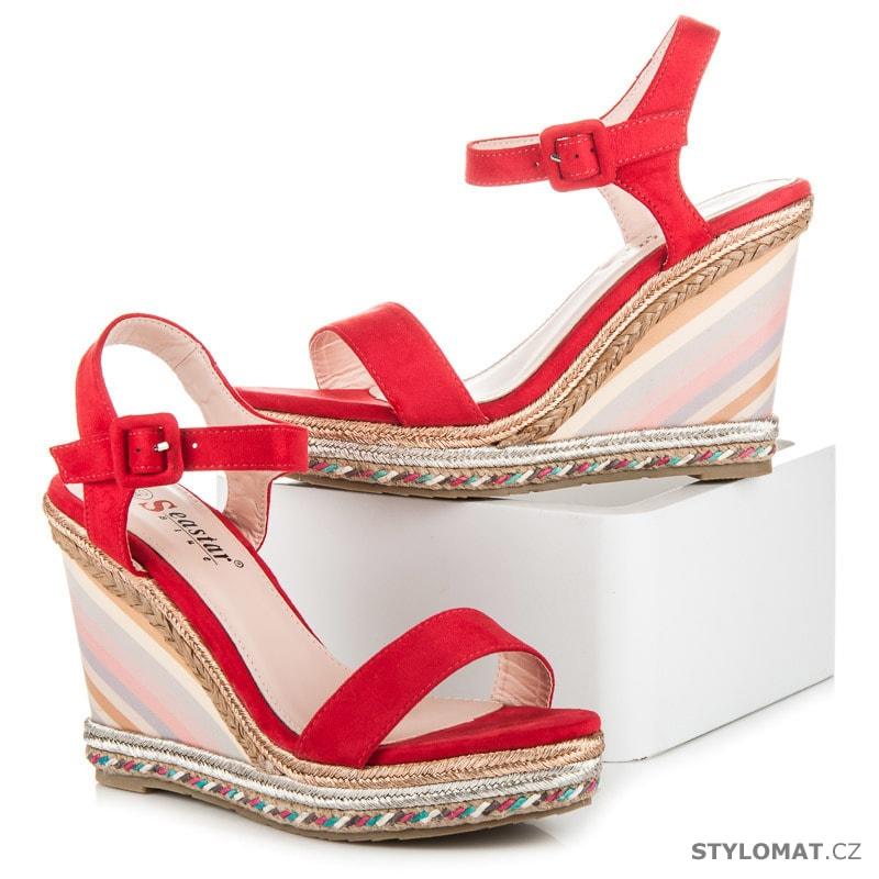 Letní dámské boty na klínu červené - SEASTAR - Sandále d1db9573d2