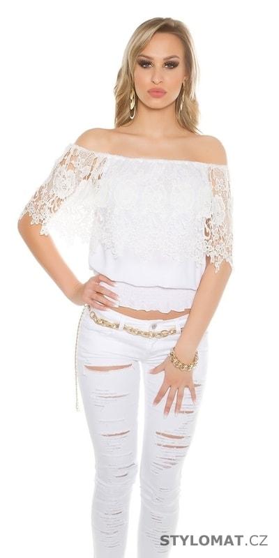 Bílý dámský krajkový top - Koucla - Halenky c707da7867
