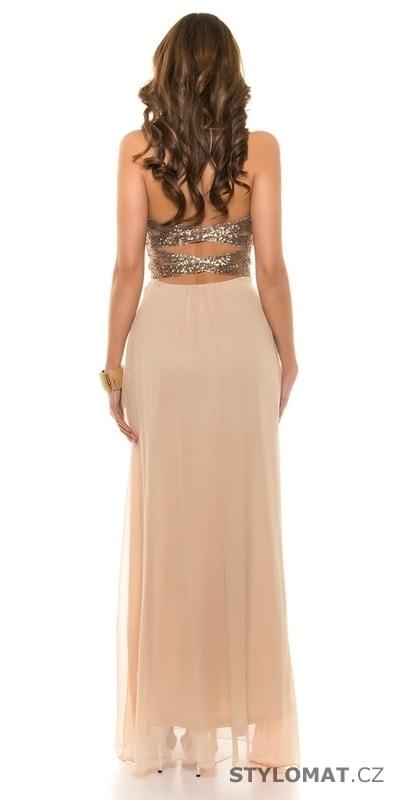 7bf79cfbb8a Béžové dlouhé šaty na ples - Koucla - Dlouhé společenské šaty