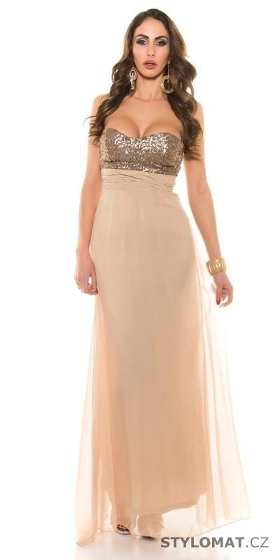 Béžové dlouhé šaty na ples - Koucla - Dlouhé společenské šaty f9ec322f261