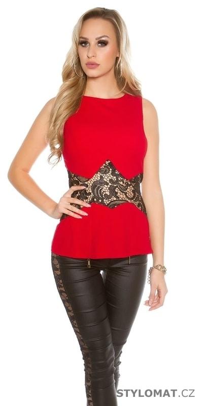 Společenský dámský top červený s černou krajkou - Koucla - Halenky eca5769ffc