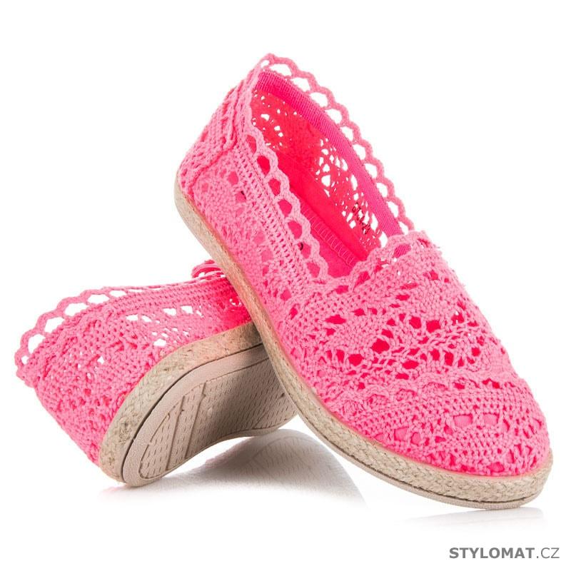 Krajkové nazouvací espadrilky růžové - BALADA - Baleríny f138e08460