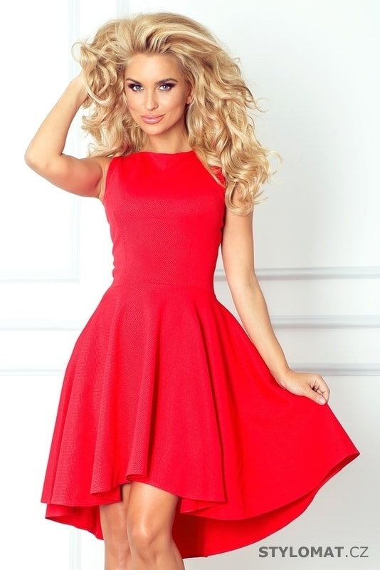 5099f7f072a Romantické červené asymetrické šaty - Numoco - Krátké společenské šaty