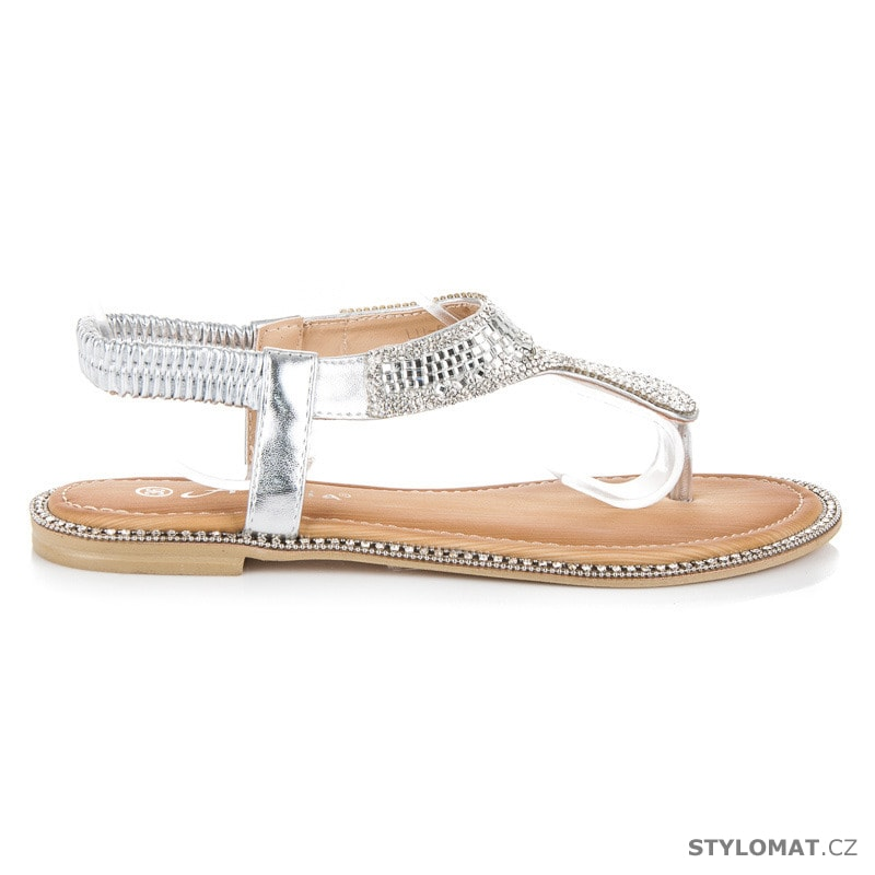 3d4afc6462e Sandály žabky s kamínky stříbrné - ANESIA PARIS - Sandále