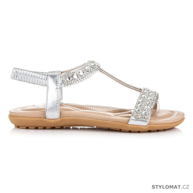 bc3873362c2 Dámské stříbrné sandály na gumu s kamínky - jiny - Sandále