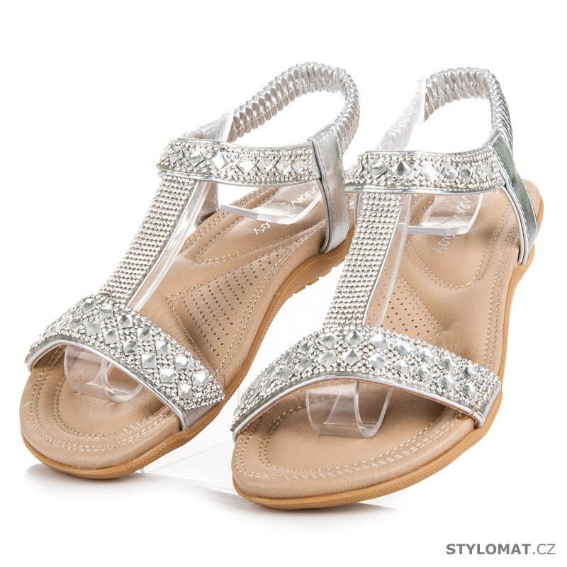 5a1679fdd0b ... Dámské stříbrné sandály na gumu s kamínky. Previous  Next