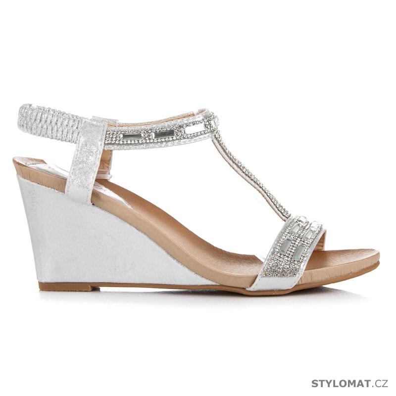 0a232342861 Stříbrné sandály na klínu s kamínky - Milaya - Sandále