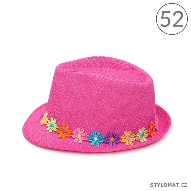 92741eef19d Trilby dívčí klobouk zdobený barevnými květinami růžový 52cm - Art ...