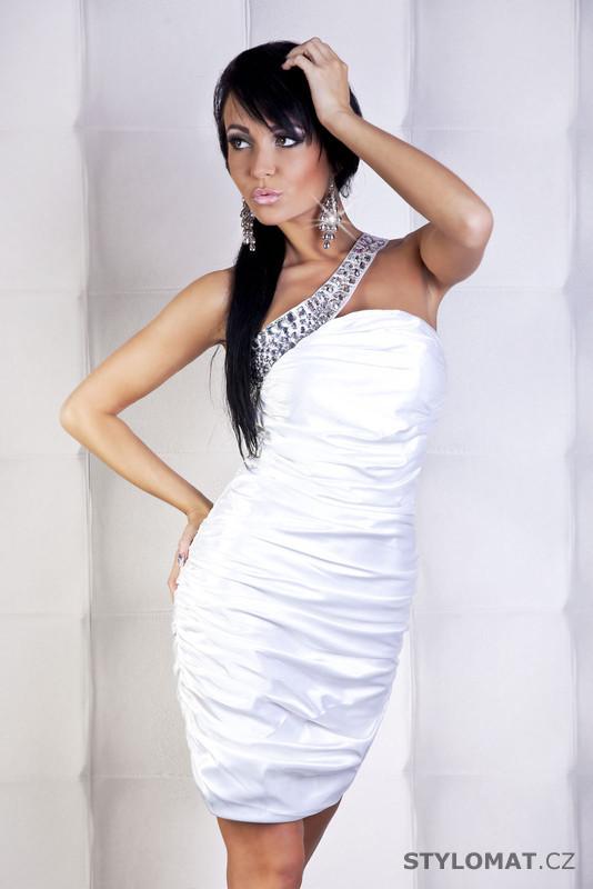 Elegantní bílé koktejlové šaty s asymetrickým ramínkem... - fionella -  Party a koktejlové šaty 2a550ba967