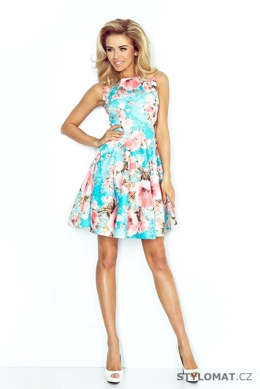 Dámské tyrkysové letní šaty s květy - Numoco - Krátké letní šaty 568d983e72