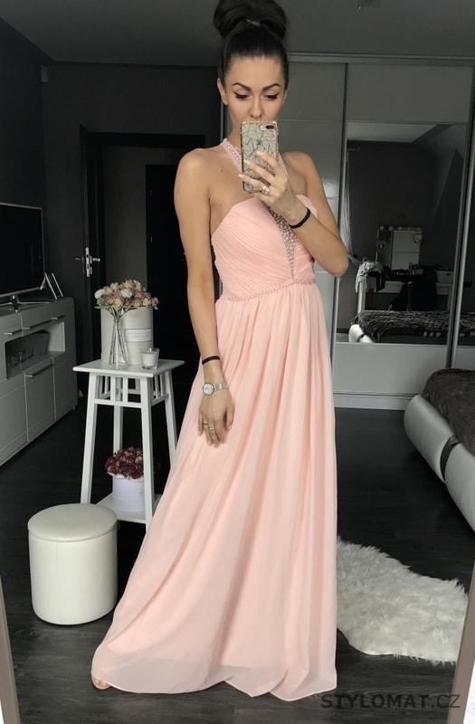 Dámské dlouhé šaty růžové s perličkami - Eva Lola - Dlouhé ... 8e33cf1193