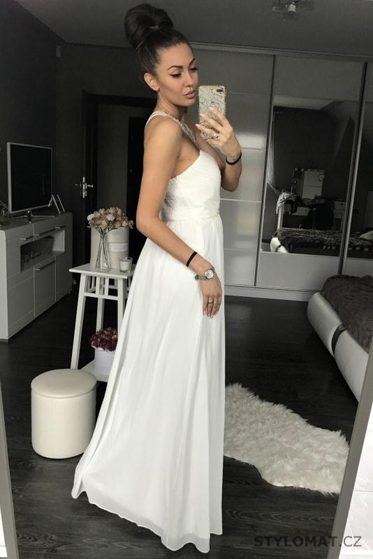 daaf86a1294 Dámské dlouhé šaty bílé - Eva Lola - Dlouhé společenské šaty