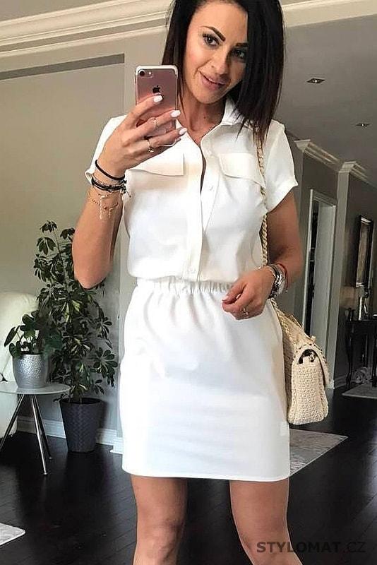7741535fe60 Dámské košilové šaty bílé - YNS - Krátké letní šaty