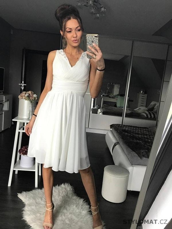 a7805cf0393 Dámské bílé koktejlky - Eva Lola - Krátké společenské šaty