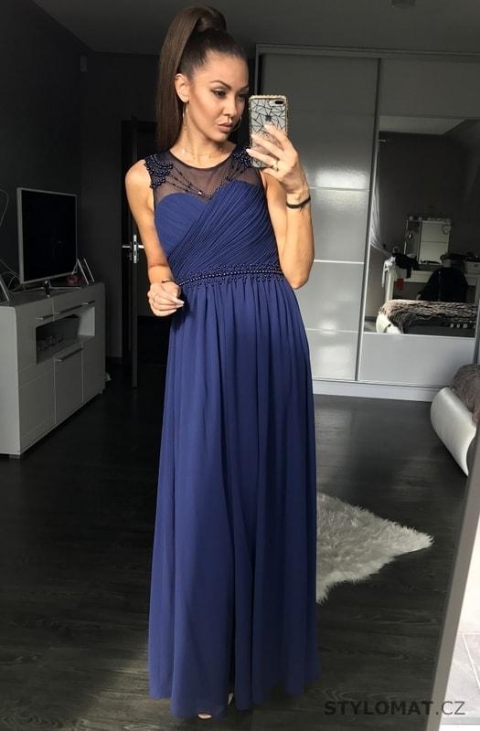 Dámské dlouhé šaty s perličkami modrofialové - Eva Lola - Dlouhé ... 956268831dd