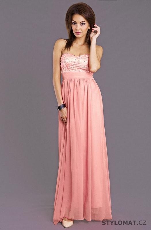 ... Dlouhé společenské šaty    Dámské večerní šaty bez ramínek růžové.  Previous  Next a80ec37499