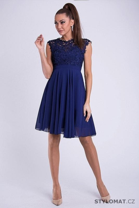 7f47eebba86 Krátké společenské šaty s krajkovým vrškem modré. Zvětšit. - 3%. Previous   Next