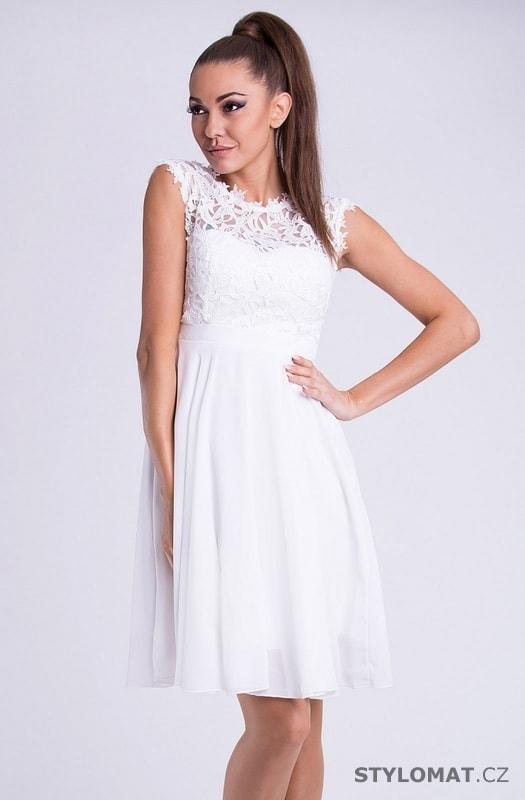 Krátké společenské šaty s krajkovým vrškem bílé - Emamoda - Krátké  společenské šaty d932f5cf23
