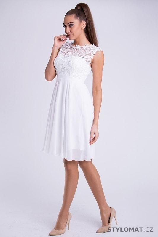 Krátké společenské šaty s krajkovým vrškem bílé. Zvětšit. - 3%. Previous   Next 4951c408163