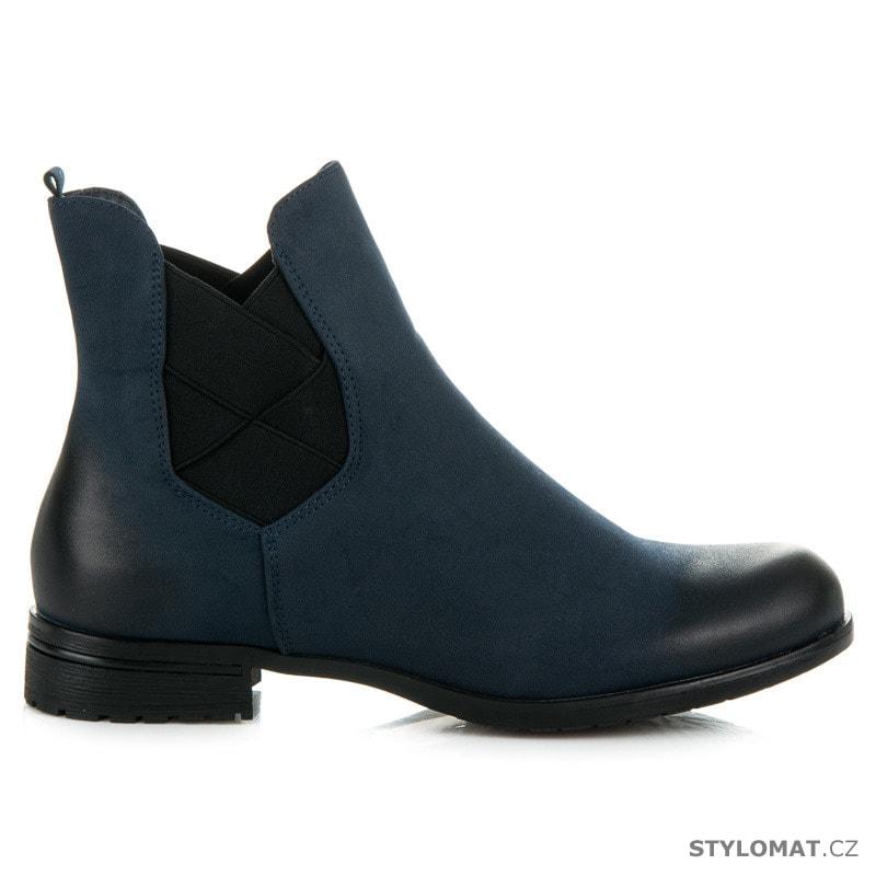 ... Dámská obuv    Kotníčkové boty    Tm. modré pérka. Previous  Next acee4a6faf