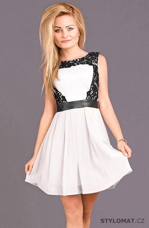 34cdd7e2015 Dámské společenské šaty s krajkou bílé - Emamoda - Krátké společenské šaty
