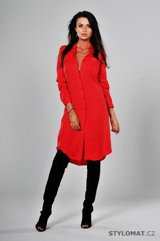 Dámské košilové šaty červené - YNS - Jarní šaty debca109f2