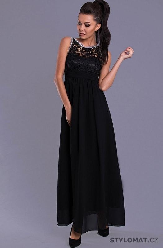 b87bdc442ba Elegantní dlouhé plesové šaty černé - Eva Lola - Dlouhé společenské šaty