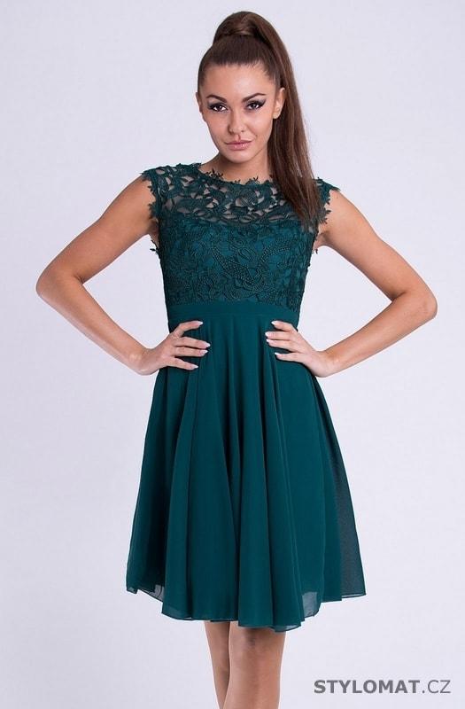 Krátké společenské šaty s krajkovým vrškem petrolejové - Your New Style -  Krátké společenské šaty c501ef5a5d