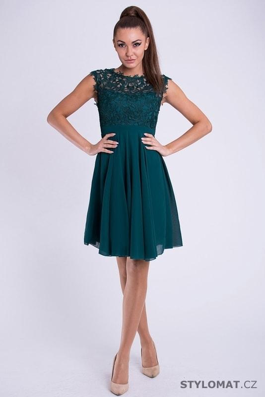 Krátké společenské šaty s krajkovým vrškem petrolejové - Your New ... 8965fbc81c
