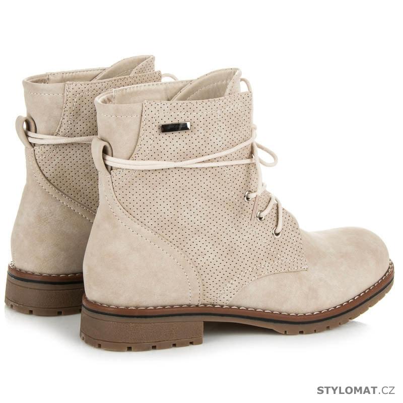 Béžové boty na nízkém podpatku - JULIET - Kotníčkové boty ebc87326b2